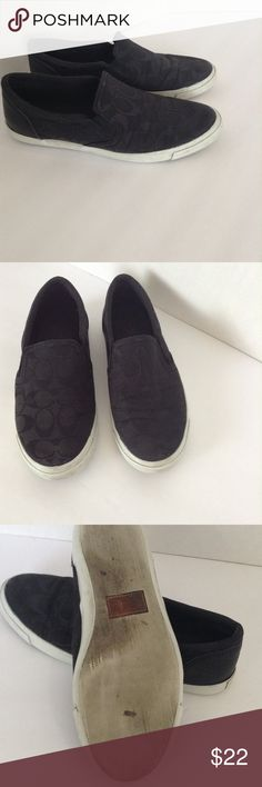 fc1af1ccce3b Coach black slip on loafers size 8 Coach monogram black slip on loafers size  8 in good condition Coach Shoes Flats   Loafers