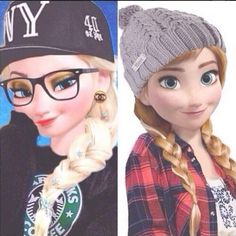 Hipster Anna and Elsa from Frozen