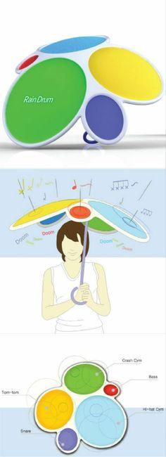 レインドラム、雨が当たると音を奏でるそうです。うるさいのかな?Rain Drum is a concept umbrella