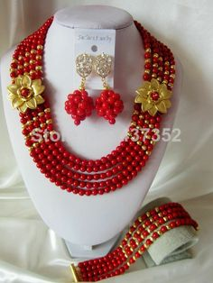 New Design Fashion Red Coral Beads Necklaces Bracelet Earrings Nigerian African Wedding Beads Jewelry Set  CPS-2465 $58.55