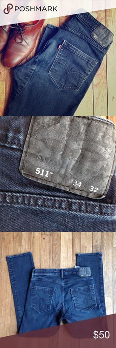 Levi's 511 Commuter Jeans. Professionally hemmed. 34x30. See photo for a description of all the cool features these jeans have for urban bike commuters: reinforced crotch, loop to hold U-lock, and reflective tape inside leg to name a few. Rare jeans in excellent condition! Levi's Jeans Slim Straight