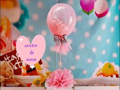 CENTRO DE MESA CON GLOBOS Y TUL/Centerpiece with balloons and tulle - YouTube Metallic Balloons, Gold Balloons, Helium Balloons, Baby Shower Balloons, Tulle Centerpiece, Balloon Centerpieces, Centerpiece Decorations, Birthday Balloon Decorations, Birthday Centerpieces