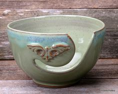 Yarn Bowl Light Green with Flourish Handmade by HurricanePottery