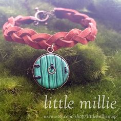 "34 Likes, 2 Comments - LittleMillieShop (@littlemillieshop) on Instagram: ""Hobbit Door Leather Bracelet  Polymer clay door charm on a hand braided leather bracelet.…"""