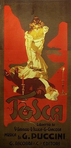 "Stylised drawing showing Tosca standing over Scarpia's body, about to lay a crucifix on his chest. The text reads: ""Tosca: libretto di V Sardou, L Illica, G Giacosa. Musica di G Puccini. Riccardi & C. editori"""