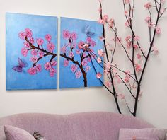 Invite spring to your home by painting this beautiful cherry flowers on few or more canvases. Even better if you do it in 3D - easy to do with modelling paste.  — Hobby Art Chemaco