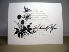elegance plain & simple...silhoutte of wild flowers...circle stamped with calligraphy...one layer card...black & white...