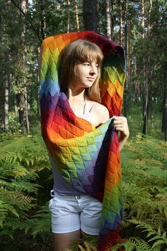 Ravelry: Lady Eleanor Entrelac Stole pattern by Kathleen Power Johnson Rainbow Outfit, Rainbow Clothes, Ravelry, Knitting Videos, Knitting Basics, Taste The Rainbow, Hand Dyed Yarn, Knitted Shawls, Knitting Designs
