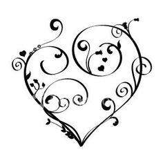 scroll tattoo designs | red heart with scrollwork design