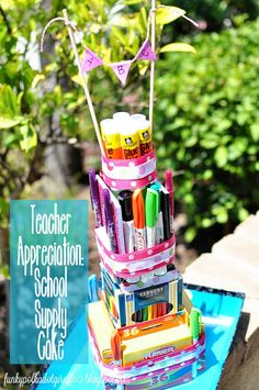 Teacher Appreciation: School Supply Cake Tutorial