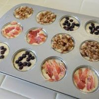 Pancake Bites Recipe - Use your favorite pancake mix, pour into muffin tins.  Add fruit, nuts, chocolate chips, etc.  Bake at 350 for 12-14 minutes.