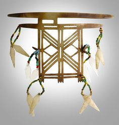 Solomon Islands - Santa Cruz Island | Nose ornament; shell, beads and fiber.  W.  12,5 cm | Est. 1'500 - 2'000$ ~ (May '15)