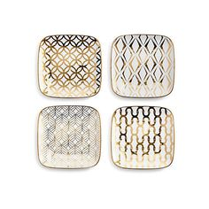 La Cite Square Rounded Plates Set of 4 Salad Plates (565 NOK) ❤ liked on Polyvore featuring home, kitchen & dining, dinnerware, white salad plates, white plate set, square plates, square salad plates and white plates