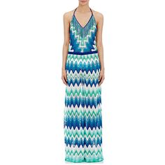 Missoni Women's Zigzag Jumpsuit ($1,190) ❤ liked on Polyvore featuring jumpsuits, blue, swimwear, halterneck jumpsuit, missoni jumpsuit, halter neck jumpsuit, jump suit and halter top