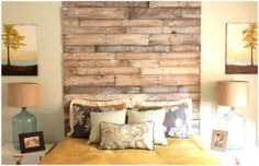 Pallet plank wall headboard DIy