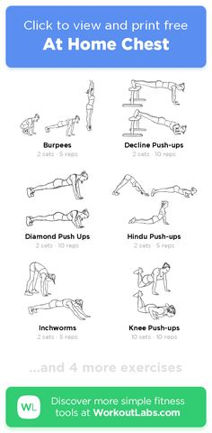 Free Workout: At Home Chest · WorkoutLabs Fit Chest Workout For Men, Home Workout Men, Workout Plan For Men, Free Workout, Chest Workouts, Easy Workouts, At Home Workouts, Diamond Push Ups, Good Mornings Exercise