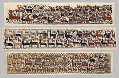 These are the Överhogdal Tapestries, which were discovered at the beginning of the 20th century in  Överhogdal, Sweden, and have been radiocarbon dated to the Viking age.  Not very representational, are they?  (The figures that resemble pharmaceutical capsules are apparently supposed to be people.)  Makes the Oseberg Tapestry look like a photograph!