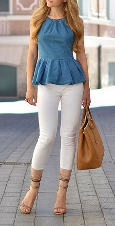 Peplum top by Asos, cropped pants by Zara, purse by Prada