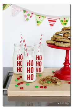Ho Ho Ho Milk Jars - Sugar Bee Crafts