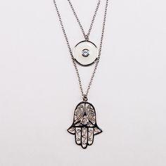 Hamsa & Eye Silver Necklace