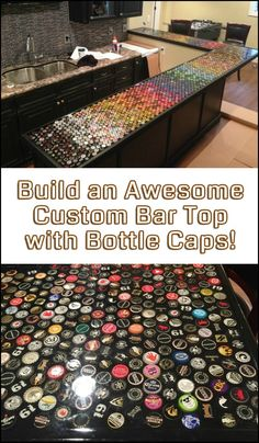 This DIY project will definitely make a great conversation piece in your house. Do you want your own awesome custom bottle cap bar top?