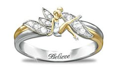 Tinker Bell Sterling Silver and Gold Ring... I really need this ring in my life!
