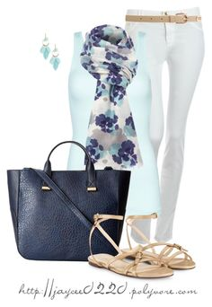 """""""White, Blues and Floral Scarf"""" by jaycee0220 ❤ liked on Polyvore"""