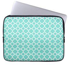 Chic Blue Turquoise Lattice Pattern Laptop Sleeve