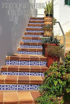 Awesome Ceramic Stairs Leading To A An Apartment In Cala Llonga , East Coast Of  Mallorca ,