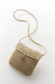 straw mini cross-body bag from J. Crochet Crafts, Crochet Yarn, Crochet Stitches, Crochet Purse Patterns, Crochet Pouch, Crotchet Bags, Knitted Bags, Crochet Shoulder Bags, Crochet Handbags