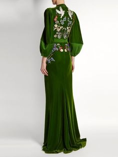 GABRIELLE'S AMAZING FANTASY CLOSET | Alexander McQueen's Green Velvet Embroidered Fantasy Gown (Back View) You can see the Front View and the rest of the Outfit and my Remarks on this board. - Gabrielle #alexandermcqueencouture