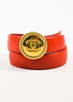 Chanel Red Leather Gold Toned 'CC' Circle Medallion Buckle Belt