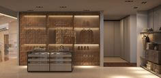 Exclusive wardrobe, making use of glass / metal mesh / aluminum / internal cladding in suede + bespoke island ... amazing