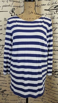 Gap The Essential Boatneck Blue And White Striped Women's Shirt Size XXL #TheGap…