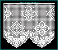 PORTAL DOS CROCHÊS: Março 2015 Annie's Crochet, Crochet Diagram, Thread Crochet, Filet Crochet, Crochet Crafts, Crochet Doilies, Yarn Crafts, Crochet Projects, Crochet Curtains