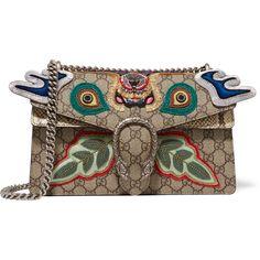 Gucci Dionysus small appliquéd embellished coated canvas and python... (£2,440) ❤ liked on Polyvore featuring bags, handbags, shoulder bags, fringe purse, python purse, gucci purses, shoulder handbags and chain shoulder bag