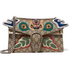 Gucci Dionysus small appliquéd embellished coated canvas and python... (£2,440) ❤ liked on Polyvore featuring bags, handbags, shoulder bags, fringe purse, python purse, gucci purses, shoulder handbags and chain shoulder bag