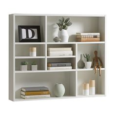 The Mika Wall Shelf unit supplies plenty of storage space, thanks to its nine shelves. This product is characterised by high-quality standards. The shelf is delivered disassembled and in a carton. Wall Mounted Bookshelves, Wall Shelf Unit, Wall Shelving Units, Cube Shelves, Bookcase Storage, Hanging Shelves, Display Shelves, Floating Shelves, White Shelving Unit