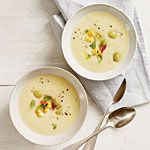Chilled Butter Bean Soup with Basil-Corn Relish Recipe | MyRecipes.com