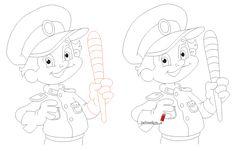 Как нарисовать полицейского карандашом поэтапно