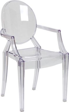 Ghost Chair with Arms in Transparent Crystal, FH-124-APC-CLR-XX-GG by Flash Furniture by Flash Furniture | BizChair.com