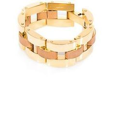 Chloé Gourmette gold chain and leather bracelet on shopstyle.com