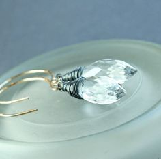Clear Quartz   Earrings   Mixed Metal Jewelry   Oxidized by Hildes, $37.00