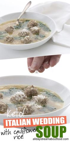 Simply the best low carb Italian Wedding Soup chock full . Simply the best low carb Italian Wedding Soup chock full . Simply the b Cheap Clean Eating, Clean Eating Snacks, Beef And Pork Meatballs, Low Carb Soup Recipes, Crockpot Recipes, Keto Recipes, Italian Wedding Soup Recipe, Italian Soup, Soup Appetizers