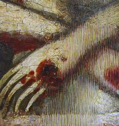 Linear aesthetic intergation, colour selection.  Retouching for paint losses. Reintegración pictórica | Museu Nacional d'Art de Catalunya