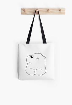 Soft polyester canvas shopping bag with edge-to-edge print on both sides. Fully lined for extra strength. Three sizes to choose from. We Bare Bears - Ice Bear Sacs Tote Bags, Cotton Tote Bags, Reusable Tote Bags, Large Bags, Small Bags, Painted Canvas Bags, Drawing Bag, Back Bag, We Bare Bears