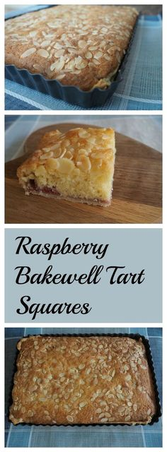 Deliciously easy Raspberry Bakewell Tart Squares cake ca… Easy Desserts, Delicious Desserts, Yummy Food, Baking Desserts, Cake Baking, Baking Recipes, Cake Recipes, Dessert Recipes, Party Recipes