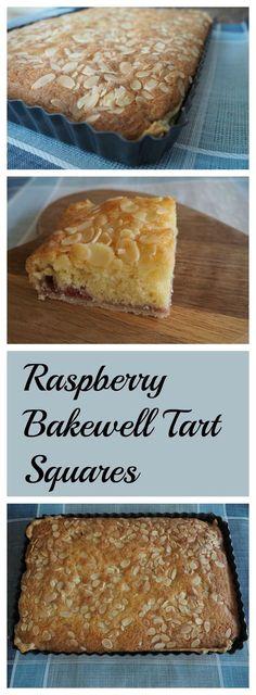 Deliciously easy Raspberry Bakewell Tart Squares cake ca… Baking Recipes, Cake Recipes, Dessert Recipes, Baking Desserts, Cake Baking, Party Recipes, Cupcakes, Tray Bakes, No Bake Cake