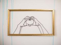 HEART HANDS wire sculpture framed
