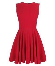 Alexander McQueen Cherry Crepe Wool Circle Mini-Dress